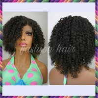 Wholesale Indian Deep Curly Hair Wig - Short Human Hair Wigs Curly Virgin Peruvian Remy Hair Full Lace Wig Kinky Curly Wig Unprocess Hair Lace Front Wig