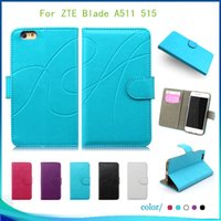 Wholesale L5 Leather - For ZTE Blade L5 plus Blade A511 515 High quality Flip PU Leather pouch wallet case cover inside credit card Slots