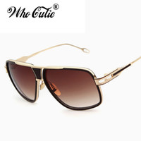 Wholesale purple glass plates - DOLCE VISION 18K Gold Plated Square Aviator Sunglasses Brad Pitt Style Men 2018 Trends Flat Top Luxury Brand Grandmaster Sun Glasses