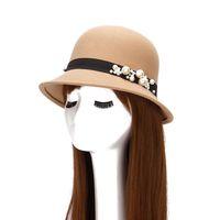 top bonés bonés venda por atacado-Mulheres Senhoras Elegantes Chapéu De Lã de Inverno de Outono Quente Top Cap Bela Flor Do Vintage Cloche De Luxo Flapper Tea Party Derby Igreja
