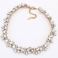 Wholesale Chunky Bib Necklaces - Brand New Women Charm Crystal Flower Pendant Statement Bib Chunky Choker Necklace 1Pcs Free Shipping[JNG0004]