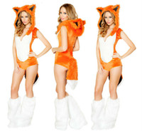 vêtements pour femmes achat en gros de-Vente en gros-2016 New Adult Womens Sexy Charming Halloween Party Fox Costumes Outfit Fancy Animal Cosplay Robes Taille M Avec Leg Warmers