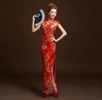 Wholesale New Elegant Cheongsam - NEW Hot Sale! Luxury and Elegant Embroidery Women Lace Silk Slim Chinese Cheongsam Dress Improved Red Short Sleeve Bridal Dress 5 sizes