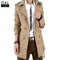 Wholesale Trench Coat Jacket For Boys - Fall-High Quality Men Double Breasted Trench Coat Boys Cotton Outerwear Casual Coat Mens Jackets Windbreaker Mens Trench Coat For Man