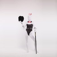 Brand New Black and White Lycra Zentai Bodysuit Spandex Bunny Girl Cosplay Костюм для Хэллоуина