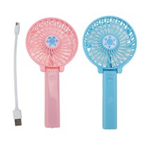 Wholesale Handy China - Handy USB Fan Foldable Handle Mini Charging Electric Fans Snowflake Handheld Portable For Home Office Gifts RETAIL BOX