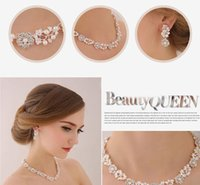 Wholesale Pearl Necklace Designs Clasps - Unique Design Crystal Rhinestone Pearls Bridal Accessories Necklace Earrings Accessories Wedding Jewelry Sets 2016 May Style