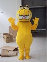 Wholesale Hero Mascots Character Costume - Garfield cat Mascot Costume Suit Adult Size Yellow characters Cartoon Fancy Dress Party Backs with black spots Free Shipping