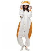 Wholesale Hamsters Free Shipping - Cartoon Animal Cute Hamtaro   Trotting Hamtaro Hamster Kigu Pajamas Anime Cosplay Costume Unisex Adult Onesie Sleepwear Jumpsuit Free ship