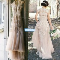 A-Line outdoor images - Vintage Blush Tulle Wedding Dresses A Line Sheer V Neck Applique Floor Length Custom Made Plus Size Outdoor Bridal Wedding Gowns Cheap