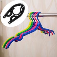 Wholesale Travel Clothes Hook - 300pcs Fold Hang Plastic Hook Fold Hanger Clothes Pegs Laundry Product Travel Space Saving Wardrobe Cloth Hanger Foldable ZA0769