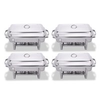 Wholesale Dish Folding - 4 Pack 8 Quart Stainless Steel Folding Chafer Rectangular Chafing Dish Sets