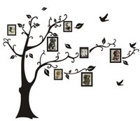 Novo LARGE Black Photo Picture adesivos de parede Frame Tree Vine Branch Wall Decor Decal Adesivo removível