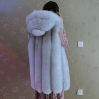 Wholesale Vest Fur Real Fox - Wholesale-Luxury women winter fur vest lady real fox fur vest with hooded fashion warm fur coat