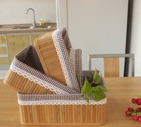 Wholesale Basket Bamboo - Foldable container,storage foldable,Bamboo Storage Basket. Round Cornered, Dark Wood Tones With Cloth Liner,toys box