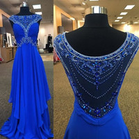 Wholesale Modern Art Dance - Royal Blue Long Prom Dresses 2017 Beaded A line Floor Length Chiffon Plus Size Formal Special Occasion Evening Gowns Dancing Formal Wear