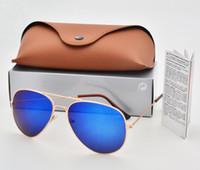 поддержка солнцезащитных очков оптовых-Поддержка смешанный цвет марка дизайнер пилот поляризованных солнцезащитных очков Мужчины Женщины солнцезащитные очки металлический каркас Polaroid объектив с коробкой коричневый чехол