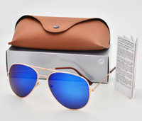 Wholesale Supporting Glasses - Support mixed color Brand Designer Pilot Polarized Sunglasses Men Women Sun Glasses Eyewear Metal frame Polaroid Lens with box Brown Case