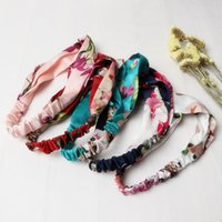 Wholesale korean red hair online - 50pcs Korean popular hair accessories wire adjustable silk plant print women s yoga sports belt fashion headband wholesales freeship
