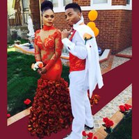 Wholesale amazing red roses - Amazing Prom Dress 2016 High Neck Long Sleeves Court Train Ruffled Rose Mermaid Long Evening Dresses Robe De Soiree Prom Gowns