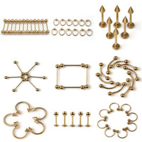 Wholesale Eyebrow Piercing 18g - 100Pieces Gauge 16G 17G 18G 19G Surgical Stainless Steel Eyebrow Nose Lip Captive Ring Tongue Piercing Navel Nipple Earring Body Jewelry