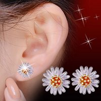 Flower Plant Sliver Earrings Fashion Chrysanthemum Pattern Flower Stud Earrings pour les femmes Summer Jewelry Gift Livraison gratuite