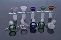 erva seca bong água de vidro venda por atacado-EM ESTOQUE Tigelas De Vidro coloridas 14mm masculino tigela de vidro para bongs de vidro erva seca tubulação de água