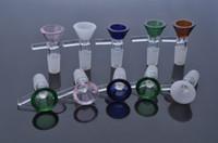14,4 mm bronzluk toptan satış-kuru ot cam bonglar su borusu 14.4mm 18.8mm 14 mm, 18 mm, erkek cam kase kaseler renkli STOK