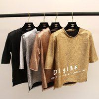 bling camisetas al por mayor-Moda coreana nueva mujer punk club hot manga corta oro plata negro bling paillette shinny camiseta tops