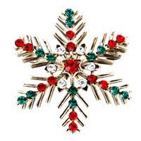 Wholesale Red Jewellery Accessories - The New Creative Snowflake Brooch Christmas Gift Crystal Rhinestone Jewellery Fashion Costume Pin Brooch Fashion Accessories