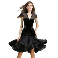 Wholesale Latin Dresses For Girls - 2 Choices Latin Dance Skirt Dresses with Underwear Women Dance Dress for Girls Dance Costume Skirt Black Red -CAD162