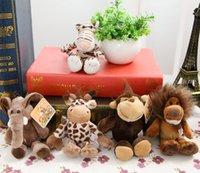 Wholesale Nici Monkey - Wholesale-Cute 15cm Germany NICI Jungle Brother Tiger Elephant Monkey Lion Giraffe Plush Doll for children birthday gifts 5pcs lot