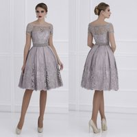 Wholesale New Custom Black Beauty - Lace Mother of the bride dresses 2017 New Off the shoulder Short sleeve Beauty Elegant Women Evening party gowns Knee length