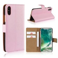 Étui en cuir véritable pour iphone X / 8/7 / Plus / 6 6s / SE 5 5S / 5C 5C Real Pouch ID Carte de crédit Slot Book Holster Holder Flip Covers Fashion