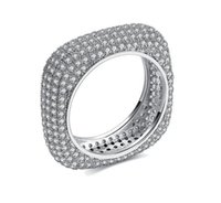 Wholesale rectangle wedding rings - Victoria Wieck Top Luxury Jewelry 925 Sterling Silver Pave Setting Full Tiny White Sapphire CZ Diamond Wedding Women Band rectangle Ring