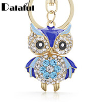 Wholesale Owl Key Pendant - Cute Owl Crystal Key Chains Rings Holder For Women Flower Purse Bag Buckle Pendant For Car Keyrings KeyChains K288