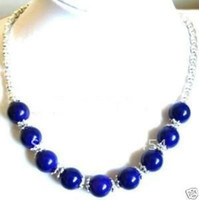 Wholesale Jade Silver Jewellery China - Wholesale cheap Fancy Jewellery Tibet silver Lapis lazuli Bead Necklace + Gift   Free Shiping