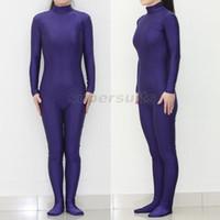 Wholesale Unisex Silver Bodysuit - Unisex Adult Royal Blue Lycra Spandex Zentai costume party Bodysuit dancewear Catsuit Unitard No Hood & Hands