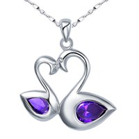 Wholesale Purple Crystal Swan Necklace - 925 Silver Necklace artificial purple crystal small Swan Necklace Silver Jewelry Gift