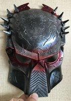 Wholesale full alien costume - New Cosplay Quality Costume Ball Aliens Vs Predator AVPR Red Eye Mask Halloween Dance Birthday Party Masquerade --- Loveful