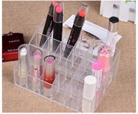 Wholesale Lipstick Display Racks - Cosmetic Organizer 24 Makeup Lipstick Storage Display Stand Case Rack Holder+gift