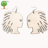 Wholesale Unfinished Wood - 10 pairs african woman lady earring unfinished natural wood AFRO unique big huge laser engraving burn ER767