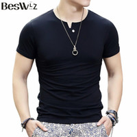 Wholesale High Neck Design For Tops - Beswlz Male Tops Fashion Brand O-Neck Solid Short Sleeve Men T-Shirts For Men High Quality Cotton T Shirt Slim Design 6901
