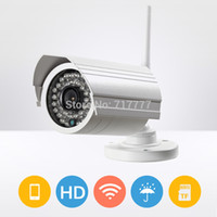 Wholesale Ip Kamera Outdoor - Outdoor Onvif WIFI SD card IP Camera 1MP 720p HD Wireless motion Surveillance Security CCTV Cam IR Infrared P2P Bullet Kamera