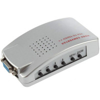 Wholesale Tv Video Signal System - PC VGA To TV AV RCA Signal Adapter Converter Video Switch Box Supports NTSC PAL System