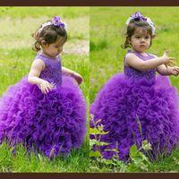 vestidos de bebé roxo venda por atacado-Tutu Roxo Flor Meninas Vestidos Para O Casamento Sheer Neckline Ruffles Organza Primeira Comunhão Vestido De Baile Vestidos Bonito Do Bebê Pageant Vestido de Aniversário