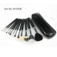 Wholesale Eyeliner Case - 12pcs Facial Makeup Brush Set Powder Foundation Eyeliner Blush Brush Beauty Tools Wool Makeup Brushes with Leather Case GI5007