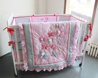 Wholesale Diaper Bag Pieces - Crib Bedding Three-dimensional embroidery Butterfly Flying pink cotton 8 pieces baby bedding set Quilt Bumper bed Skirt Fitted Diaper bag
