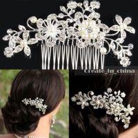 Wholesale Vintage Comb Crowns - Flower Hair Combs Wedding Hair Accessories Vintage Crystal Crowns Jewelry Quinceanera Tiaras Princess Bridal Pageant Rhinestone Hairbands