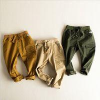 Wholesale Children Boy Pants Pocket - Wholesale 10 pieces Little Boys Autumn Trousers Kids Pencil Pants Children Casual Trousers Baby Slack With Pockets